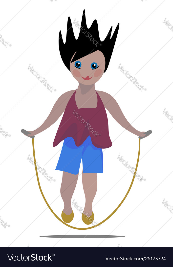 Clipart a small girl playing in a jumping rope.