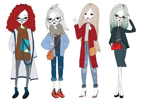 Fashion Girl Collection With Beautiful Stylish Girls Wearing.