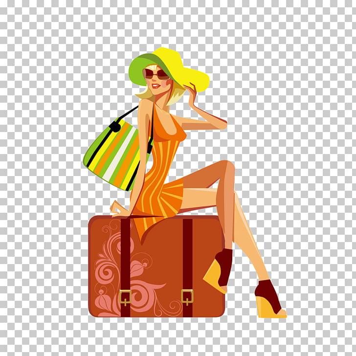 Fashion Drawing Woman Illustration, Stylish holiday girl PNG.