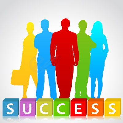 Success people silhouette, Vector.