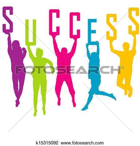 Clipart of Success representation with colored people silhouettes.
