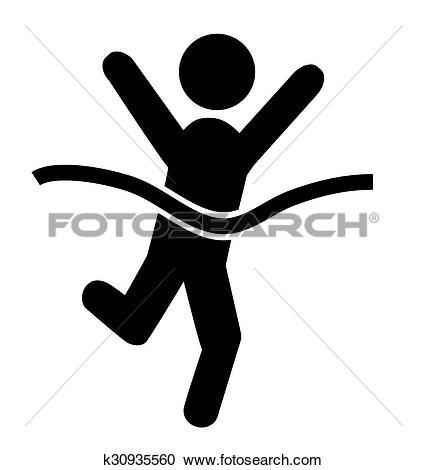 Clipart of Success People Run Man Winner Flat Icons Pictogram.