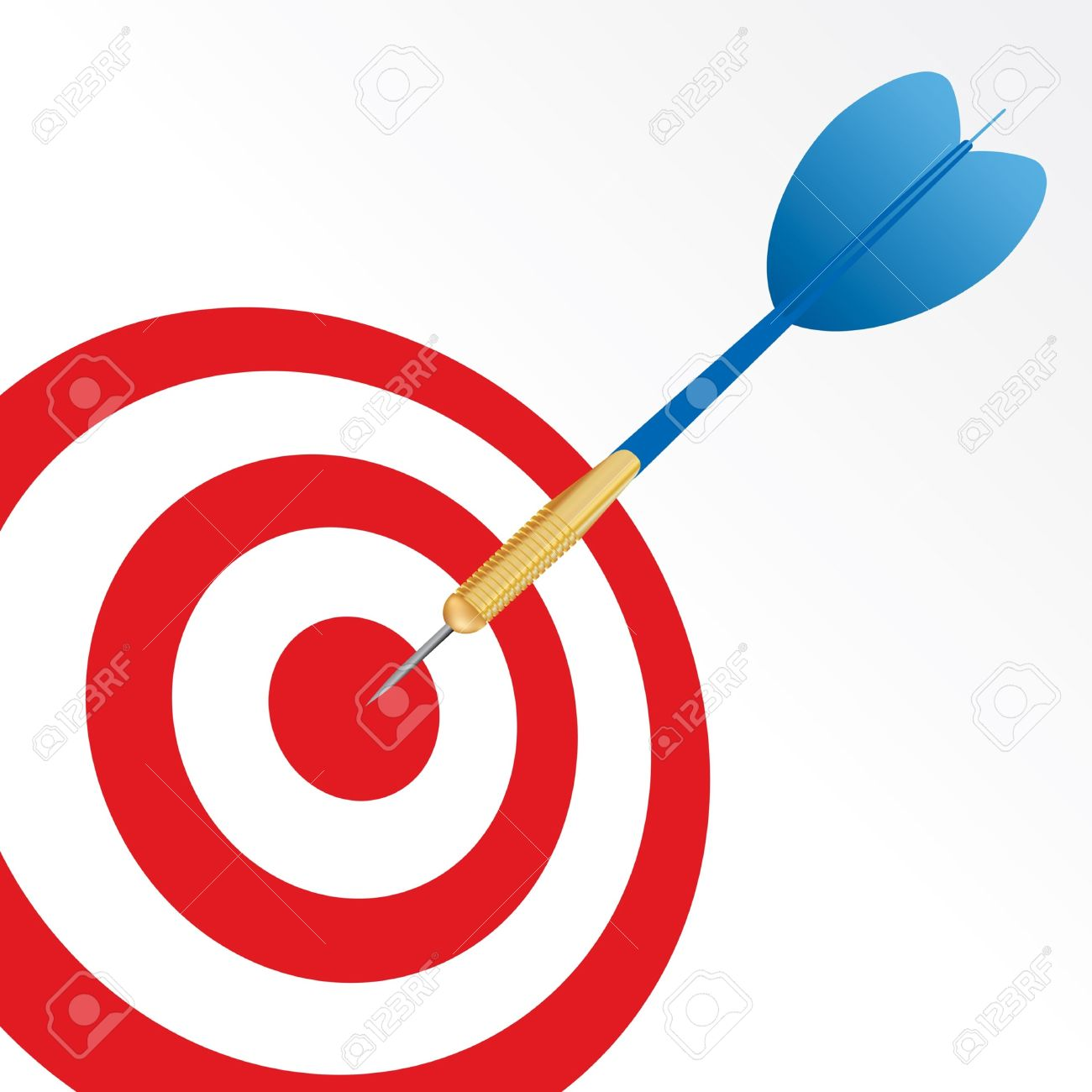 Success Symbol With Blue Arrow In Center Of Red Target Royalty.
