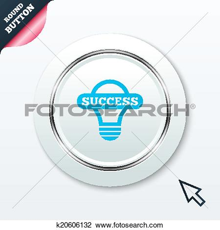 Clipart of Light lamp sign icon. Bulb with success symbol.