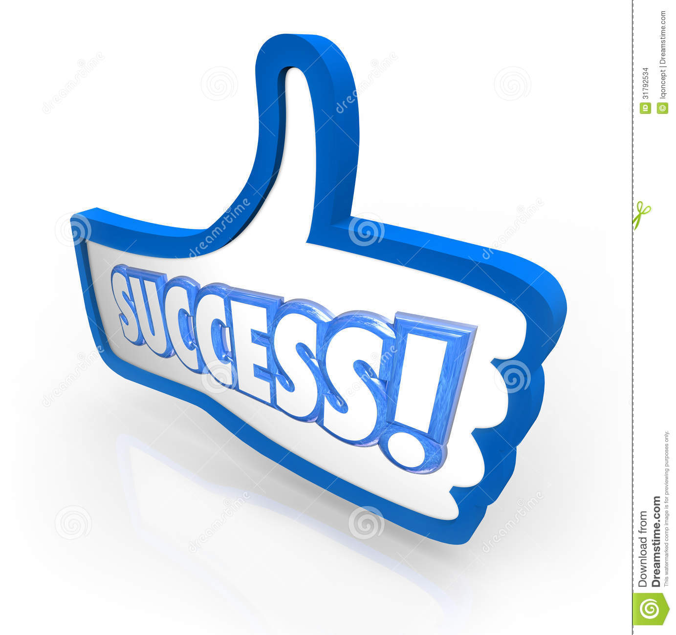Success Word Thumb's Up Like Approval Feedback Rating Stock Images.