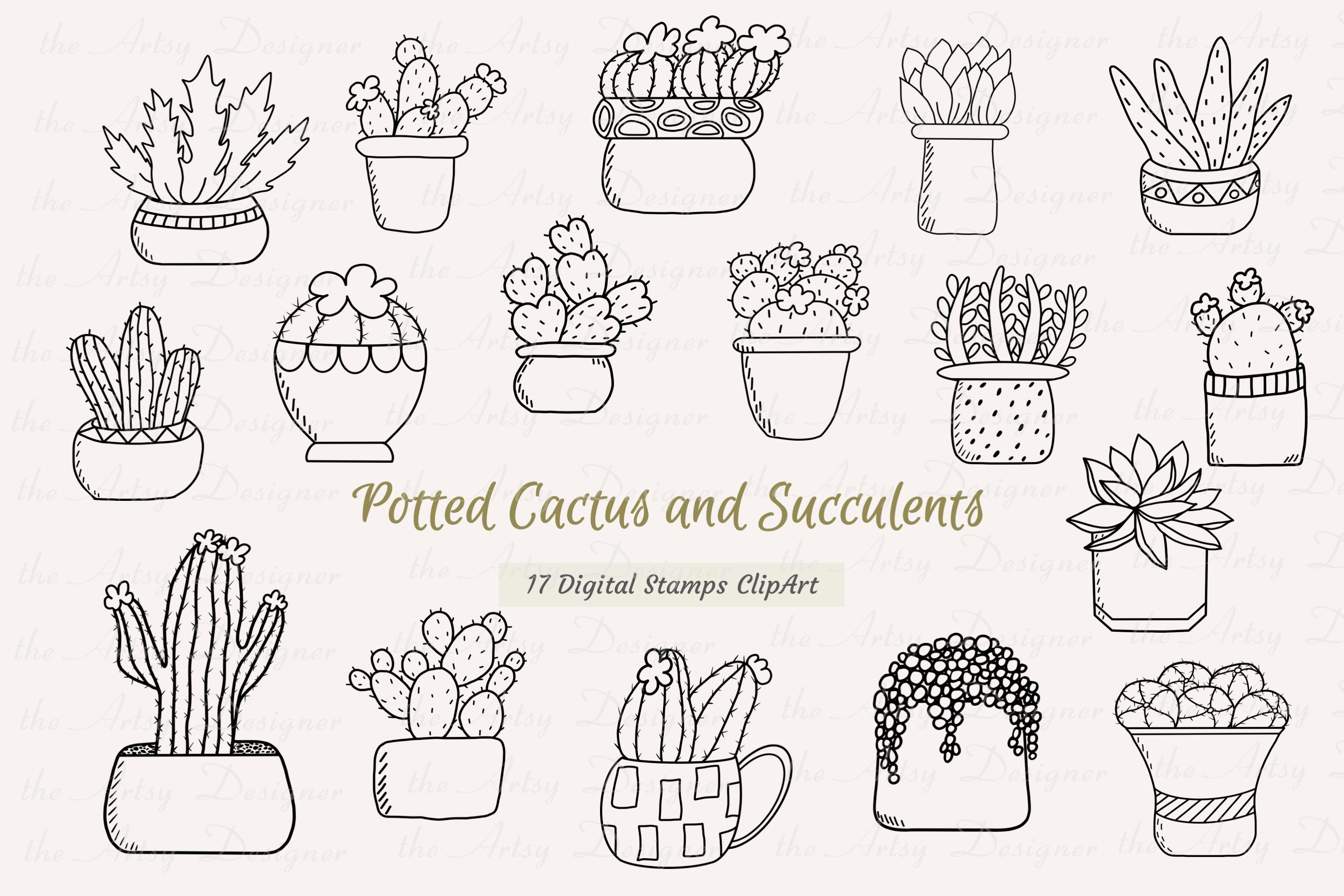 17 Digital Stamps Potted Cactus Succulents Clipart Bundle.
