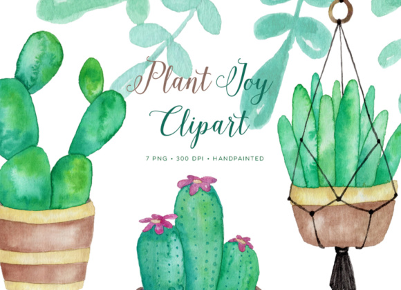 Watercolor succulents and cactus clipart graphics.
