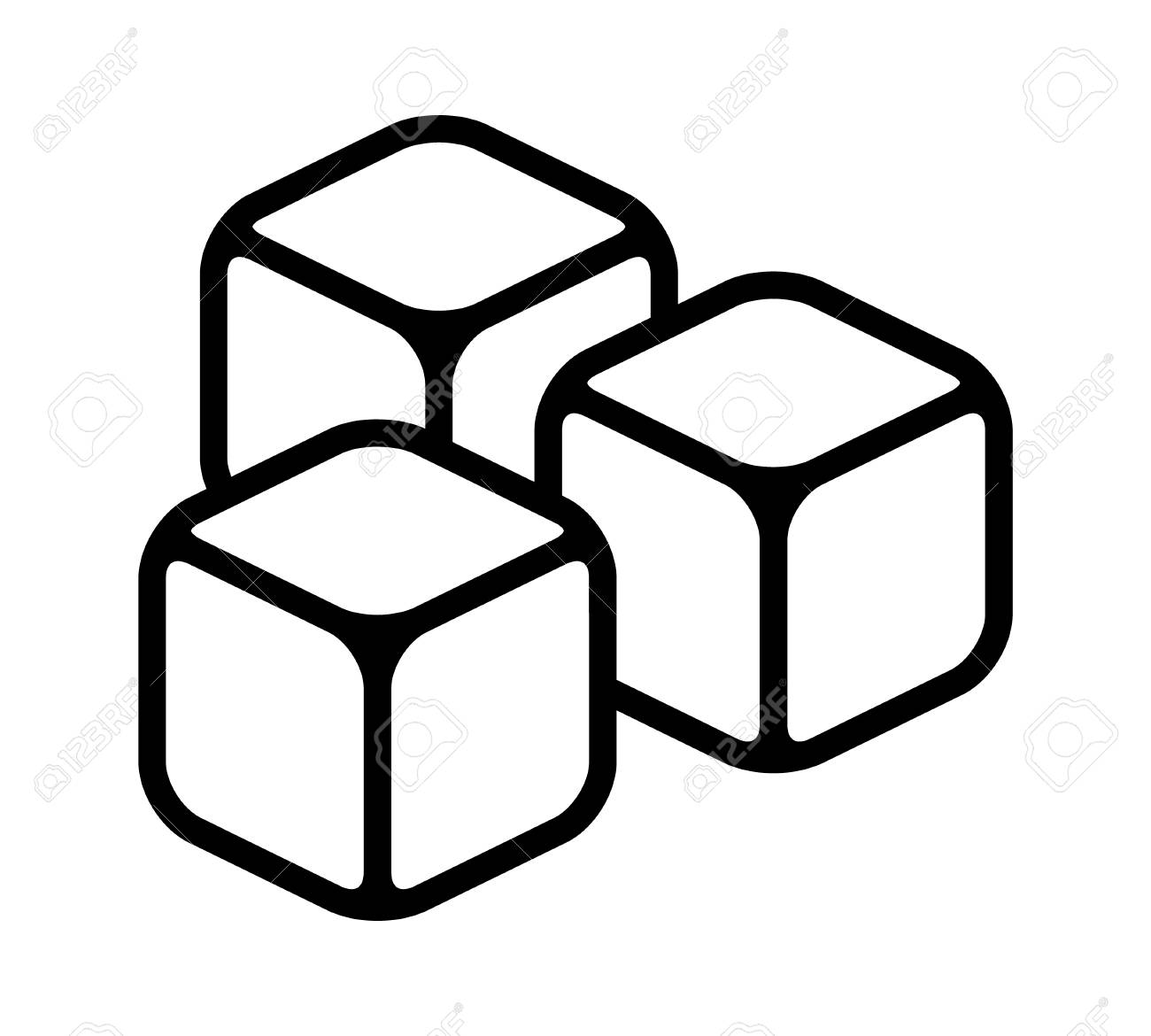 Three ice cubes or sugar cubes line art vector icon for apps...
