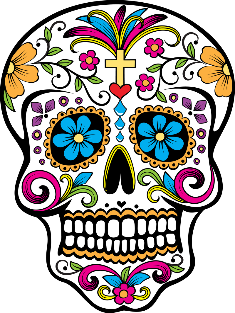 Images For > Sugar Skull Black And White Clip Art.