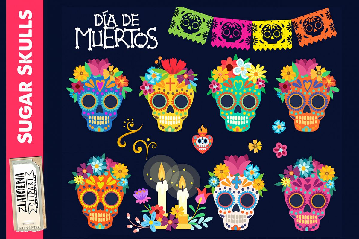 Sugar skull clipart Day of the dead clip art.