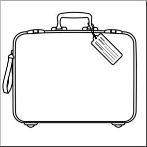 Clip Art: Suitcase B&W I abcteach.com.