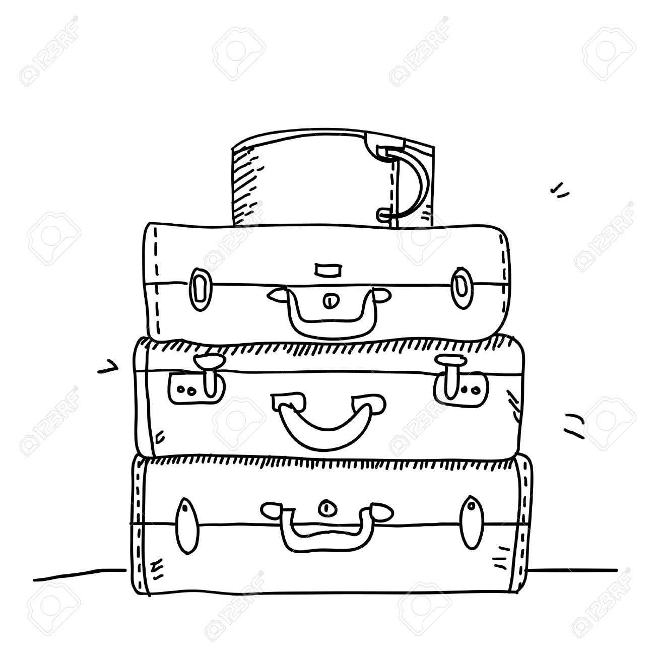 black and white suitcase clipart.