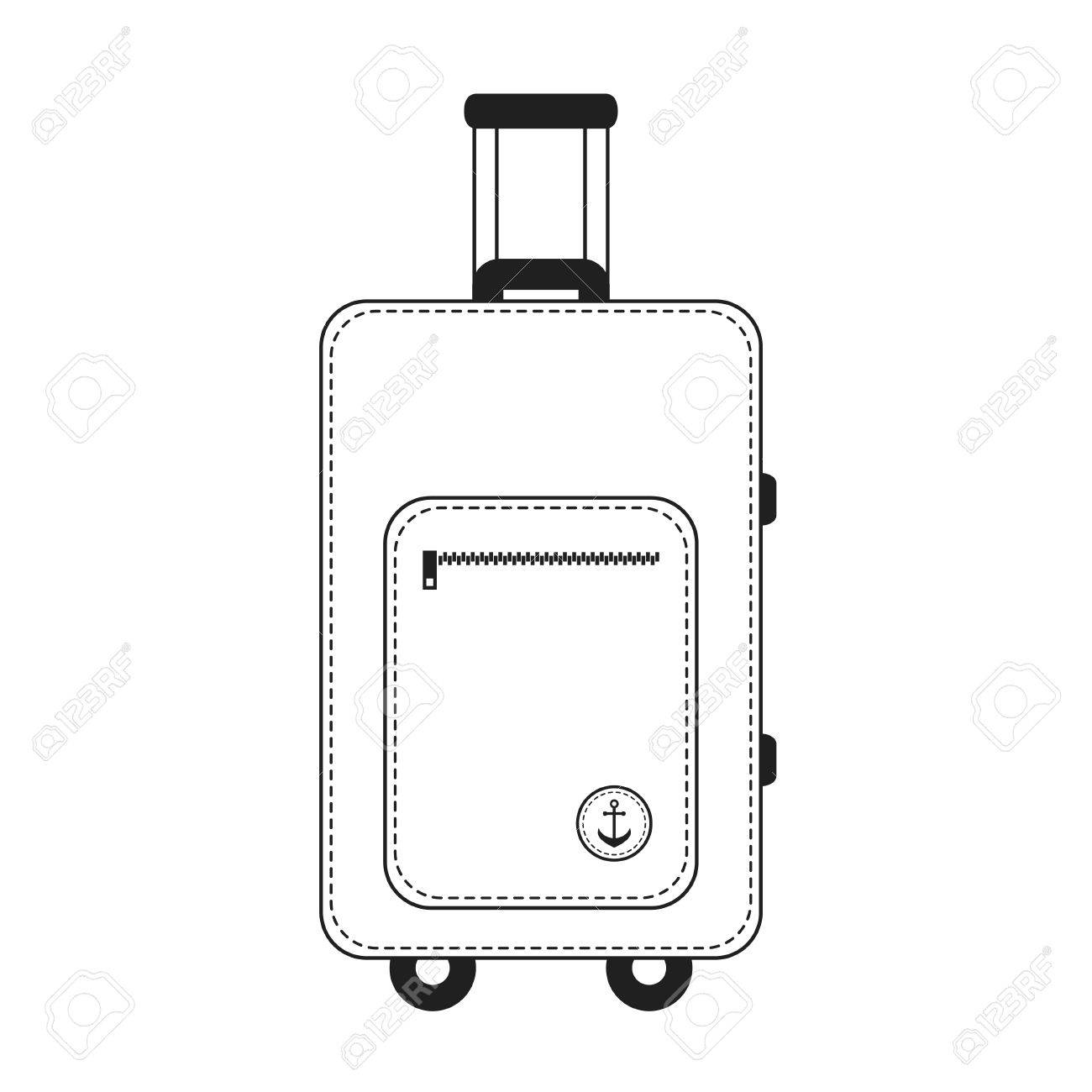 White and black color travelling baggage suitcase » Clipart.