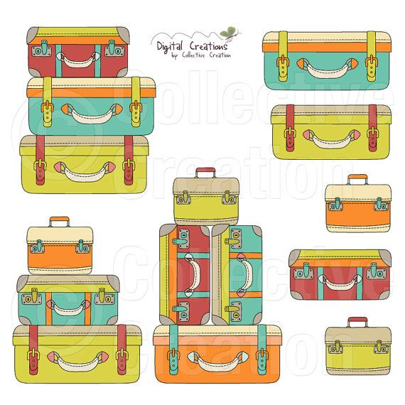 Suitcase Stack Digital Clipart Clip Art by.