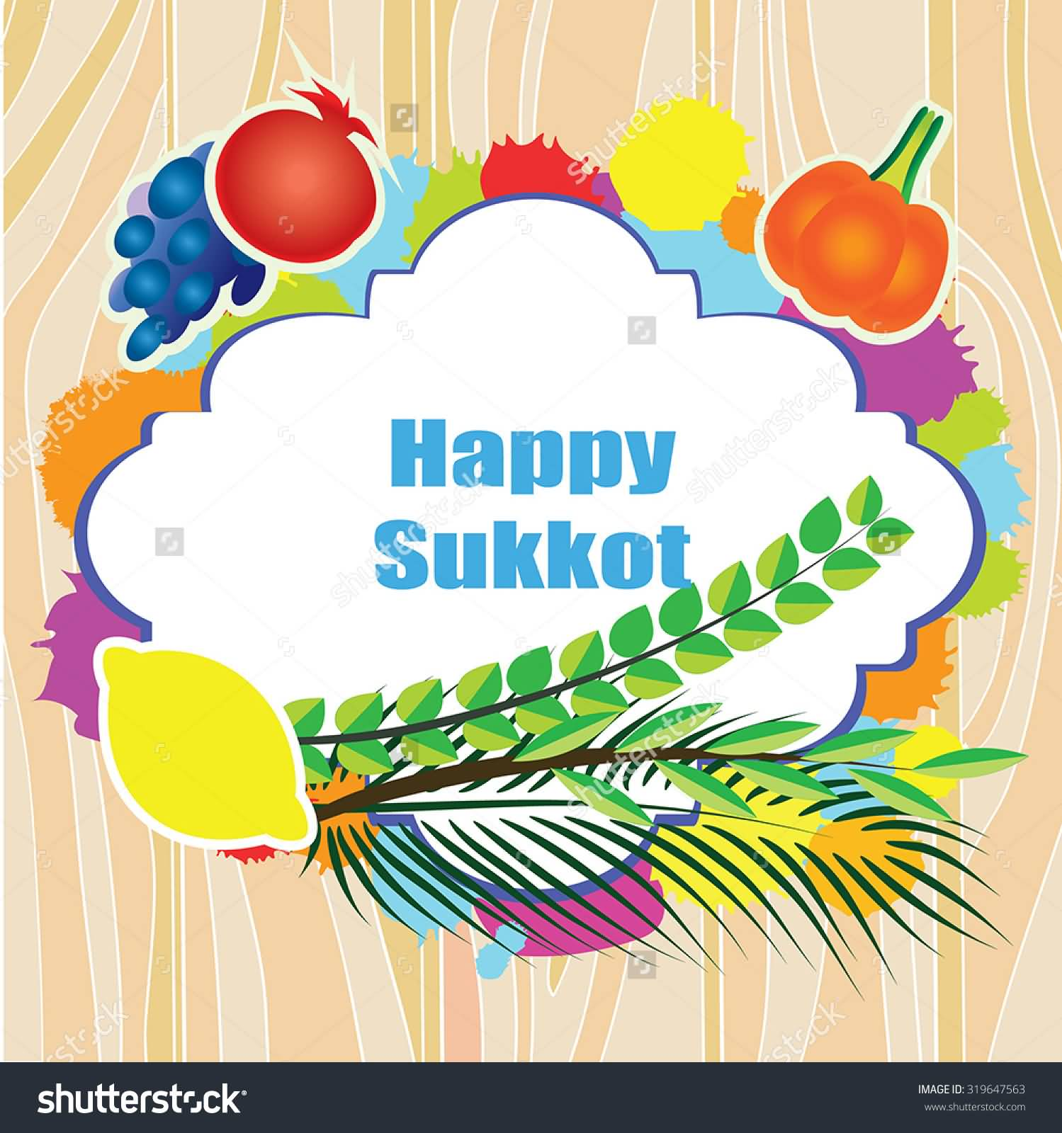 Happy Sukkot Four Species And Fruits Clipart Image.