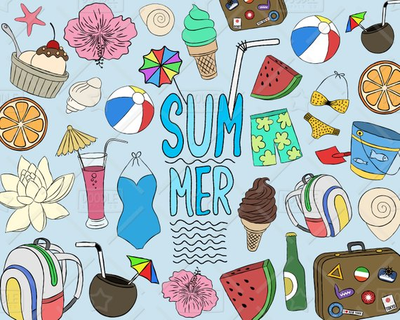 Summer Clipart Vector Pack, Beach Clipart, Summer Doodle.