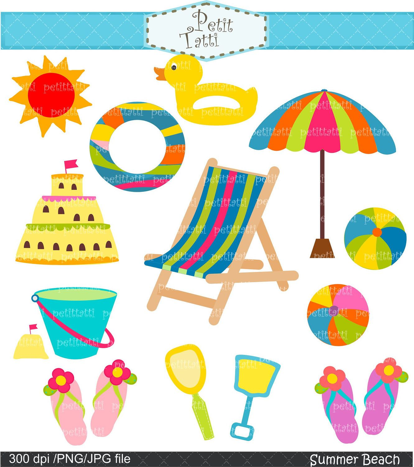 Summer Beach clip art Digital clip art.