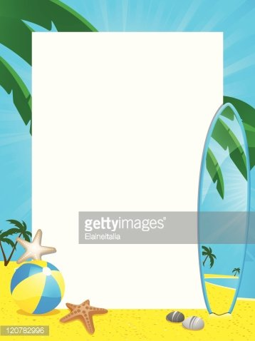 Summer border and surfboard Clipart Image.