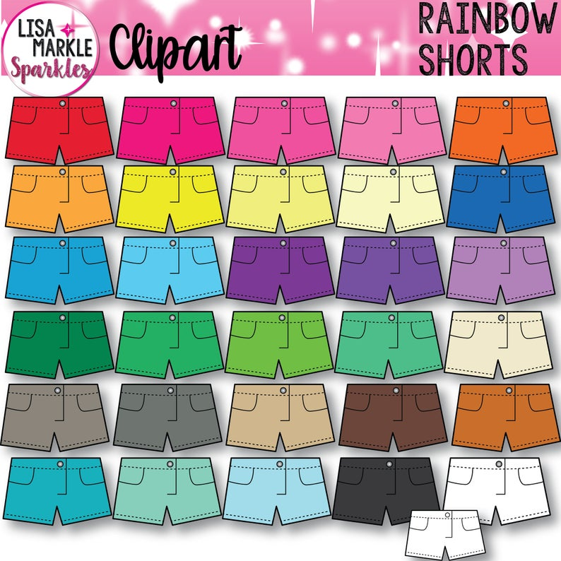 Shorts Clipart, Clothing Clipart, Clothes Clipart, Summer Clothes Clipart.