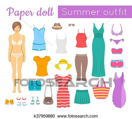 Paper doll girl with summer clothes game Clipart.