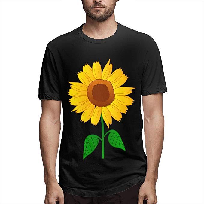 Fashion Gentleman Short Sleeve T Shirts Sunflower Clipart Summer.