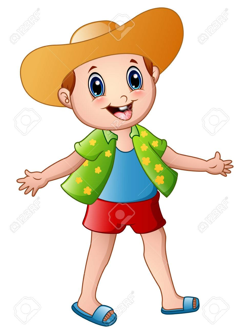 Happy boy cartoon with summer clothes and a hat.