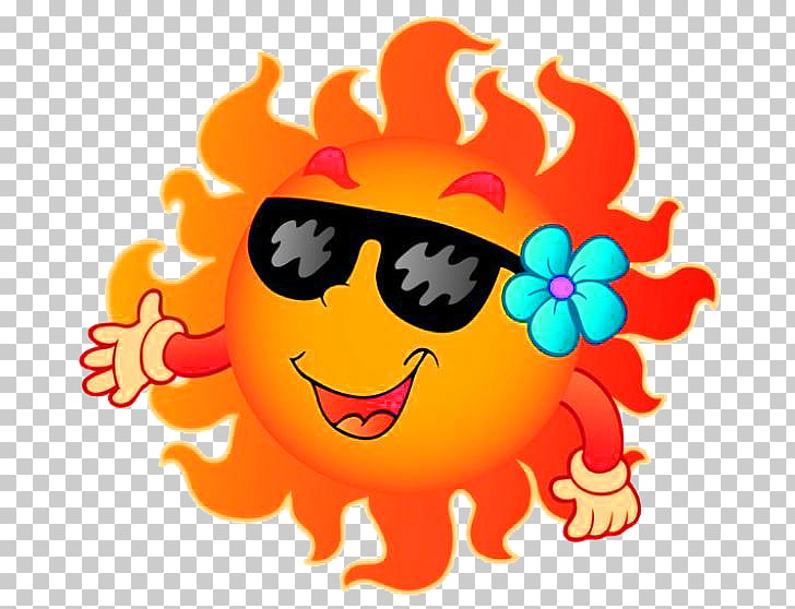For Summer Free content , Cartoon smiling sun PNG clipart.