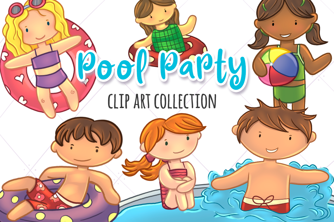 Pool Party Summer Fun Clip Art Collection.