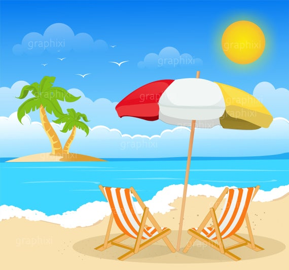 Clipart beach, beach image, summer, holiday, clipart, commercial use.