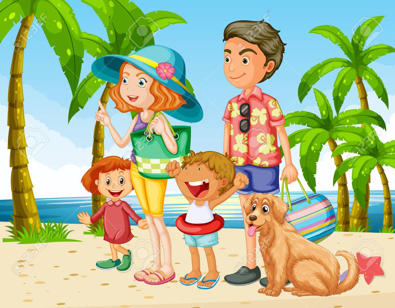 Summer holiday with family on the beach illustration.
