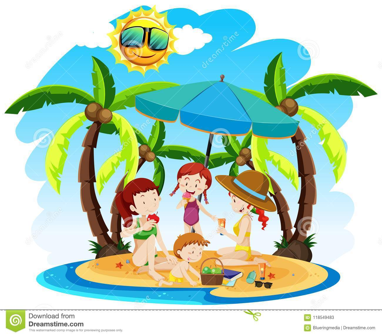 A Family on Summer Holiday stock vector. Illustration of clipart.