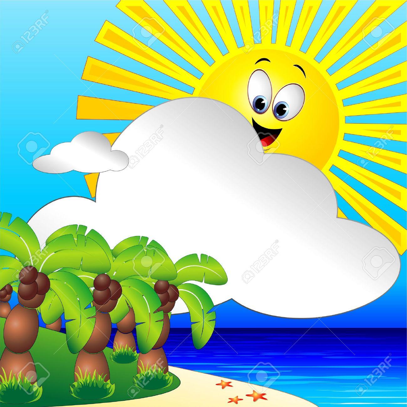 Summer Holidays Tropical Beach and Palm Trees Clip Art.
