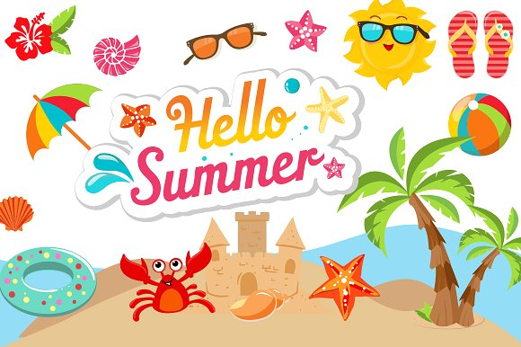 Summer Clipart Bundle.