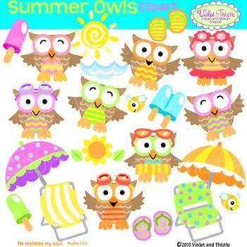 Summer Owl Clipart Owls Beach Chair Umbrella Clipart Clip Art.