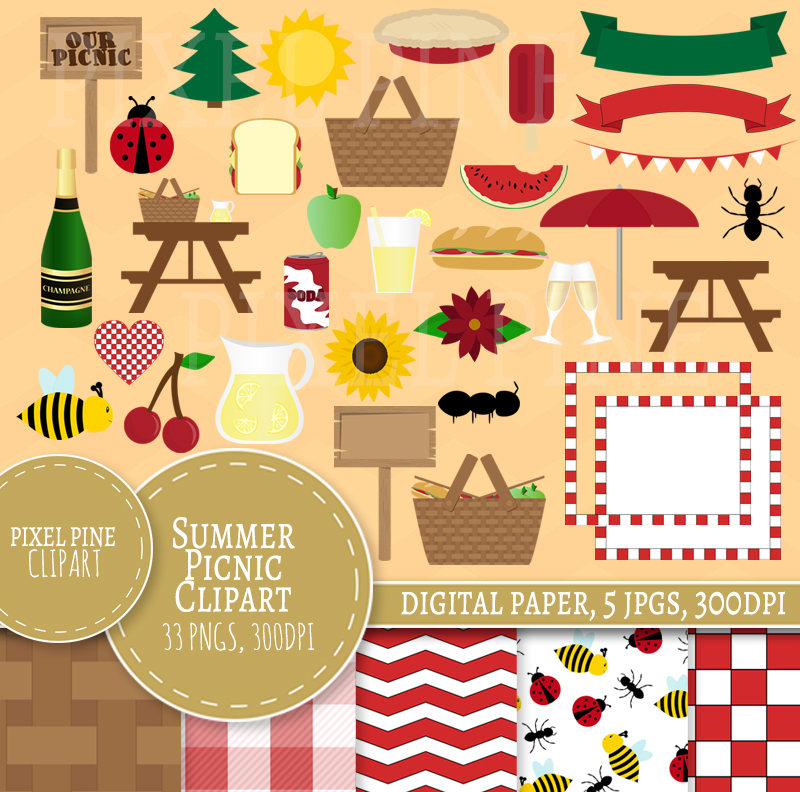Picnic Clipart Set, Summer Picnic Clipart, 33 PNGs, 5 picnic Digital Paper  JPGs, Commercial Use.
