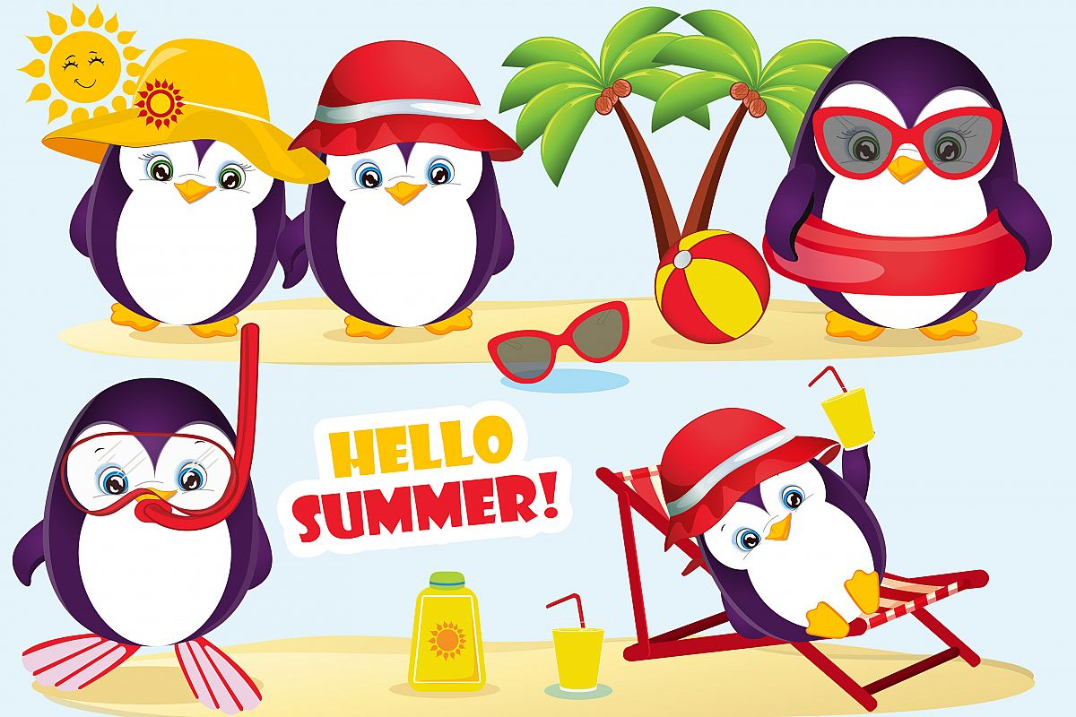 Summer penguin clipart, Summer penguin graphics.