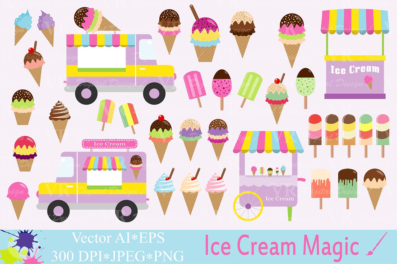 Ice cream Clipart / Summer graphics / Ice cream truck, stand, cones and  popsicles vector illustrations.