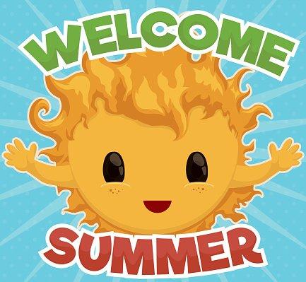 Cute Sun Giving Welcome TO Summer Season premium clipart.