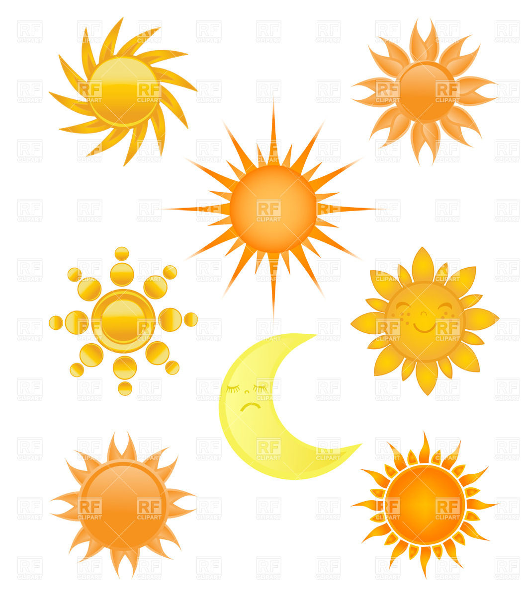 Sun and moon. Collection of different designs Stock Vector Image.