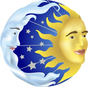 Sun and Moon and Stars clip art.