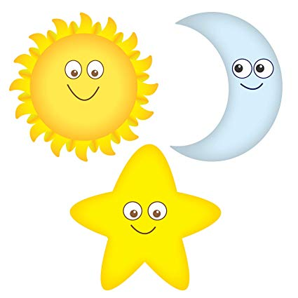 Sun, Moon and Star Smiling Wall Decals Graphic Peel and.