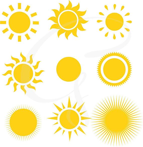 Sun clipart, Sun Digital Clipart, sunshine, commercial use.