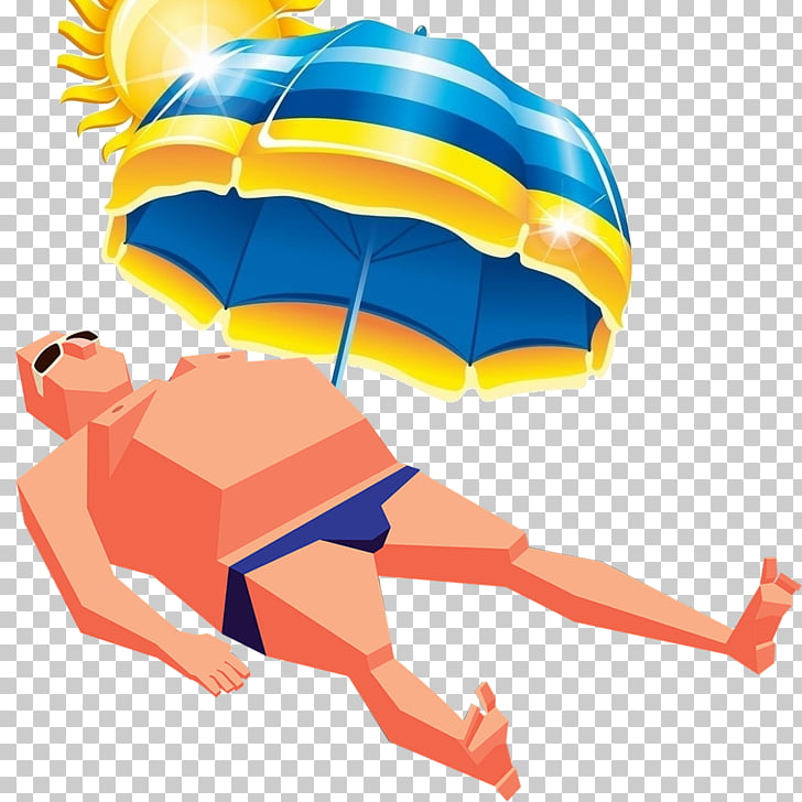 Umbrella Summer , Sunbathing man PNG clipart.