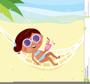 Lady Sunbathing Clipart.