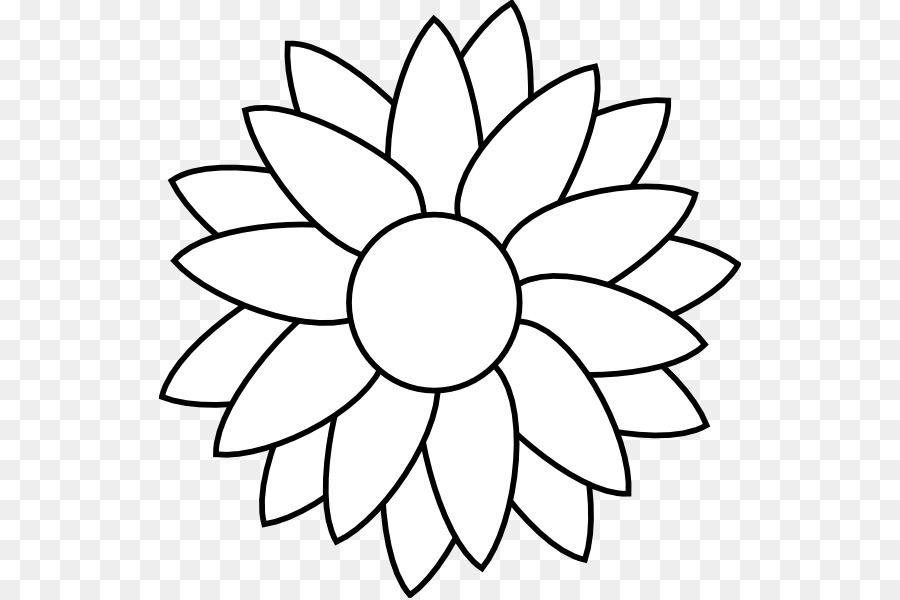 Sunflower Black And White clipart.