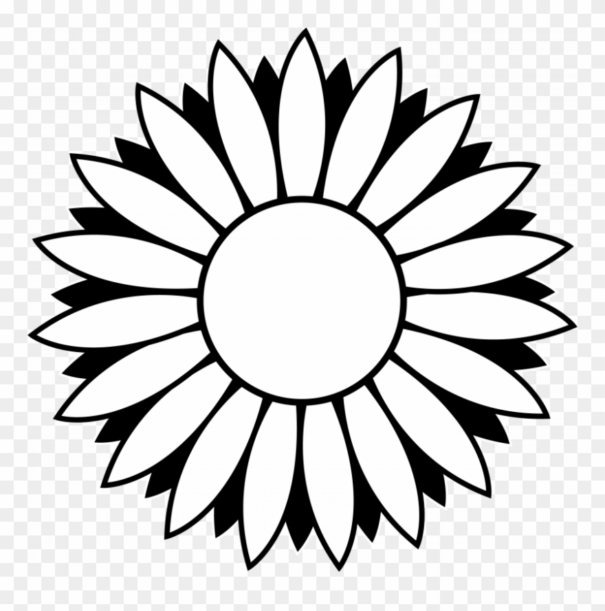 Sunflowers Clip Art Black And White.