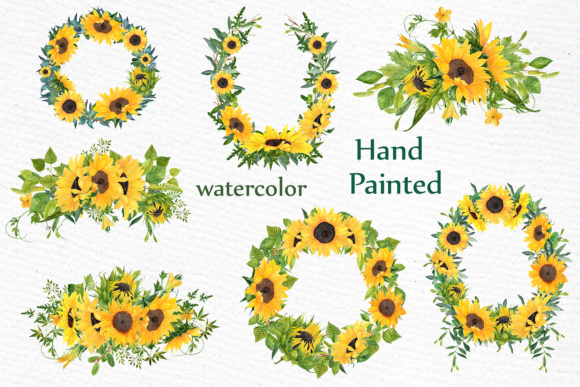 Sunflower clipart Watercolor Wreath SUNFLOWER BOUQUETS Wedding clipart  Floral Wreaths Yellow Flowers.