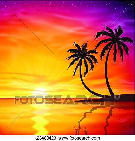 Sunset, Sunrise with Palm Trees Clipart.