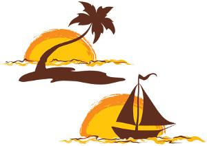 Sunset Beach Clip Art 1.