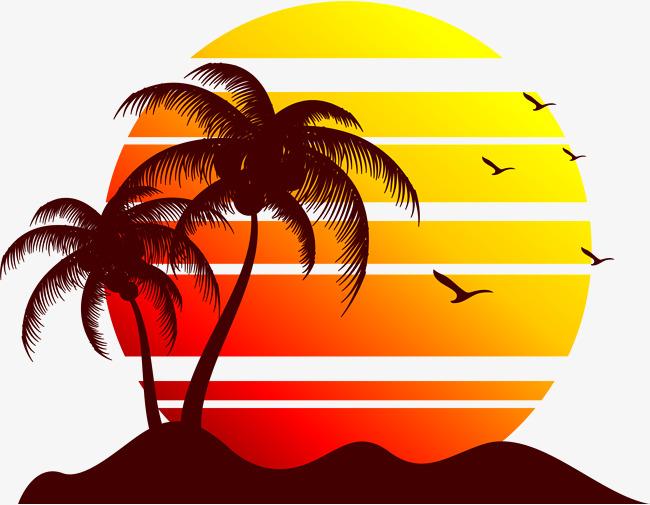 Sunset Beach Clipart.